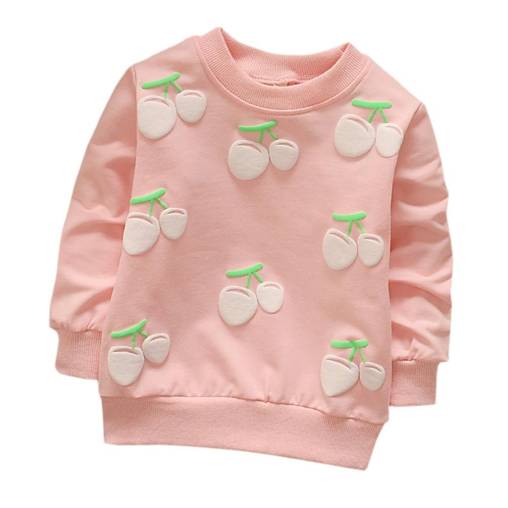 iumei Baby Toddler Warm Long Sleeve Hoodie Shirts Tops Cherry Pattern Sweatshirt Sweater