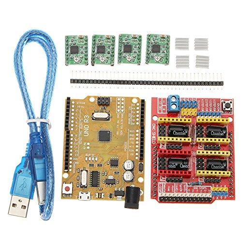 3D Printer & Supplies - 3D Printer Module Board - CNC Shield V3 Expansion Board + 4xA4988 Step Motor Driver Module + UNO R3 Board kit for Arduino 3D Printer by OCHOOS
