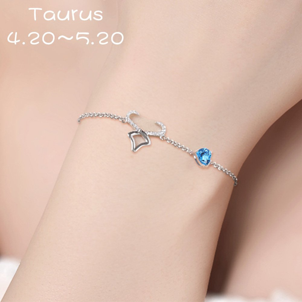 CYMO JEWELRY 925 Sterling Silver Horoscope 12 Constellation Bracelet with Blue Cubic Zirconia Birthday Gift-Taurus