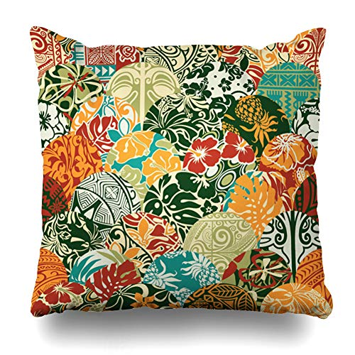 Ahawoso Throw Pillow Cover Graphic Beach Hawaiian Patchwork Pattern Floral Quilt Tribal Abstract Antique Carpet Design Summer Decorative Cushion Case 18x18 Inches Square Home Decor Pillowcase
