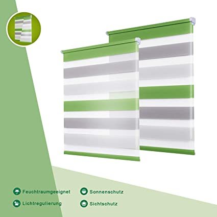 Oubo Day And Night Blinds Green Grey White 45 X 150 Cm W X L
