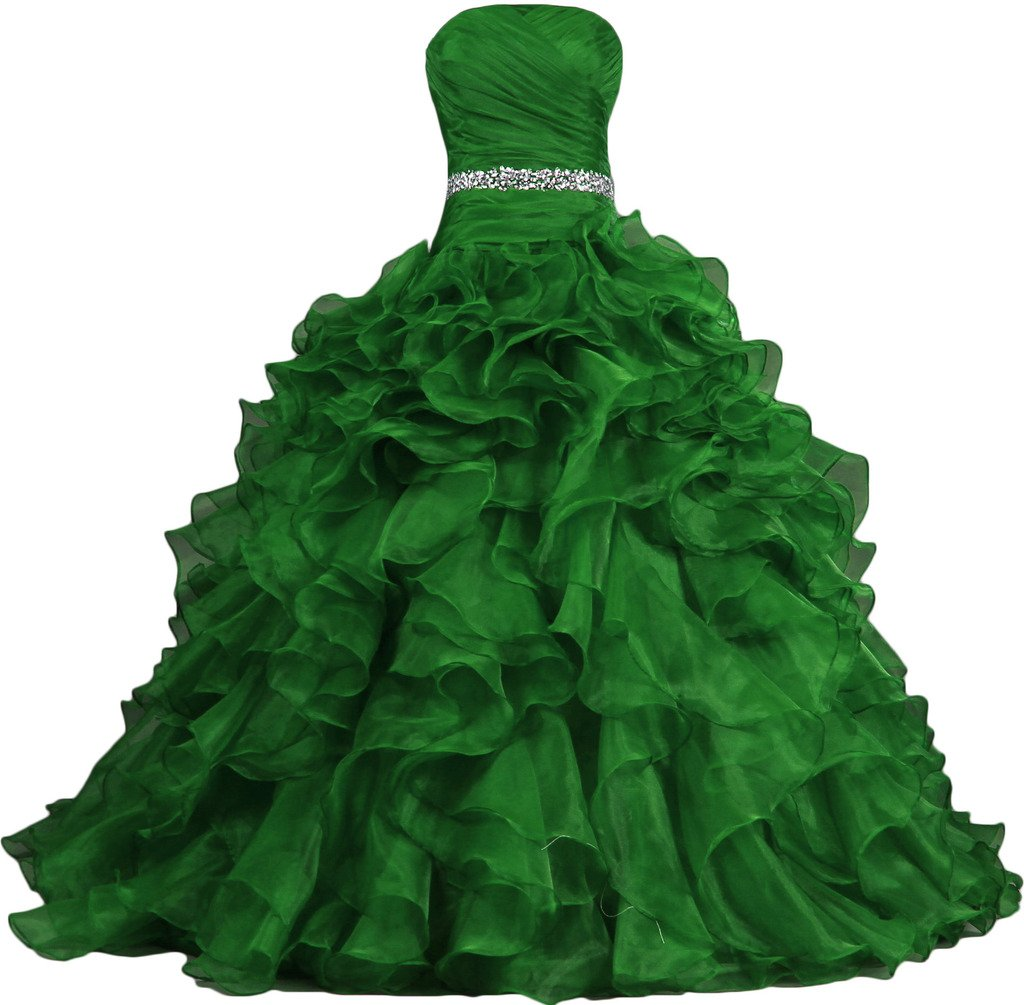 ANTS Women's Pretty Ball Gown Quinceanera Dress Ruffle Prom Dresses Size 18W US Green