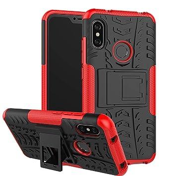 Abuenora Funda Xiaomi Mi A2 Lite Carcasa Protector Antigolpes Case 360 Protección Rígida Robusta Resistente Parachoques Caídas con Soporte Color Roja