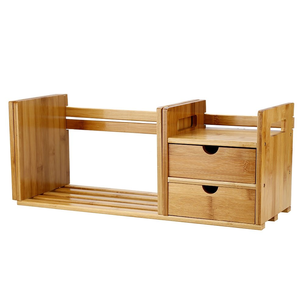 Desktop Bookshelf, Natural Bamboo Extendable Desk Tabletop Book Rack Bookshelves Bookcase Organizer with Extendable Storage and Two Drawers for Office and Home, Expandable Desk Tidy Bamboo Bookshelf by Zerone