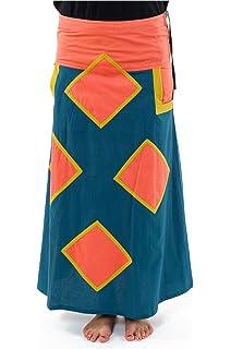 56e88d30c990 FANTAZIA Jupe Longue Basique Ethnique Bleu Petrol - Taille Unique ...
