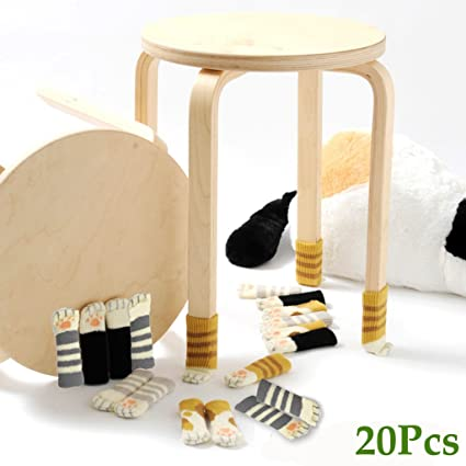 20 Chair Socks   Furniture Feet Covers Caps Pads   Flexible Anti Scratch  Knitted Wool Chair