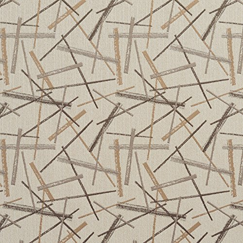 Beige Contemporary Damask Linear Accent Upholstery Fabric by the ()