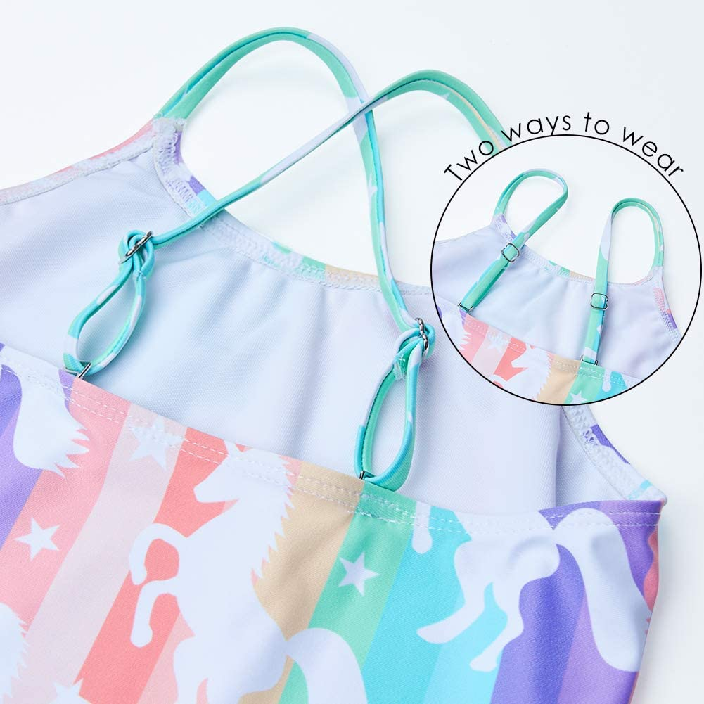 BFUSTYLE Girls One Piece Swimsuit Hawaiian Beach Swimwear 3-12 Years