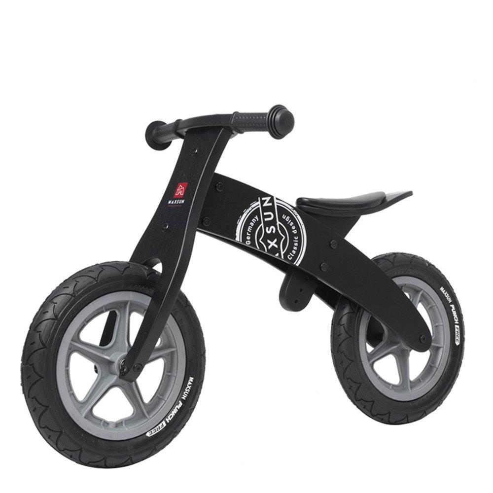 子ども用自転車 木製幼児バランシングカー、ベビーウォーキングスクーター、木製スライド、子供用自転車 少年少女の自転車  Black A B07KT61GY4