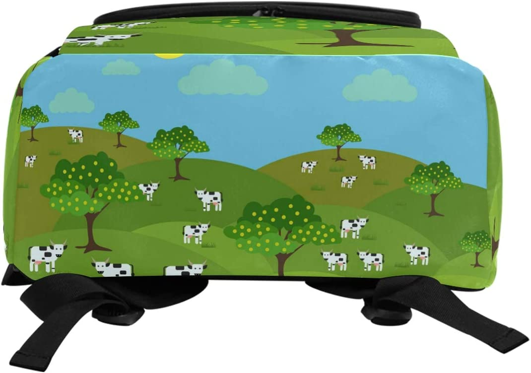 FANTAZIO Milk Cows Farm Landscape Laptop Outdoor Backpack Travel Hiking Camping Rucksack Pack Casual Large College School Daypack