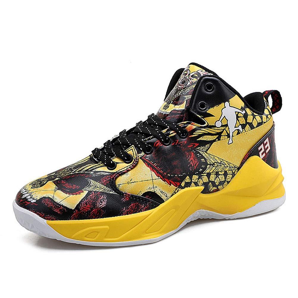 Hombres Baloncesto Zapatos Graffiti Cuero c/ómodo Antideslizante High Top Zapatillas Masculinas
