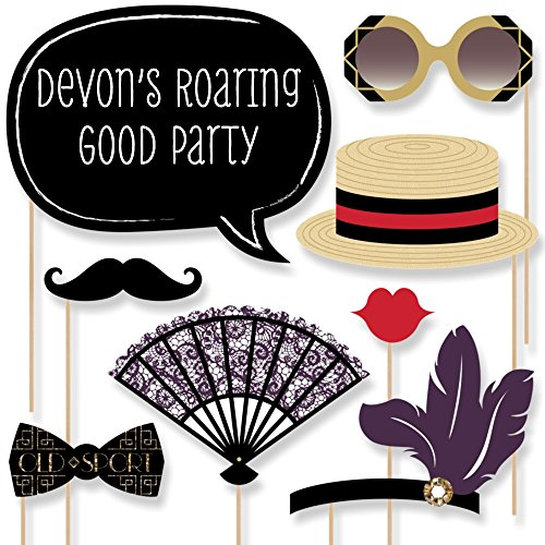 Custom Roaring 20's Photo Booth Props - Personalized Twenties Party Accessories - Jazz Era 1920's Party Supplies - 20 Selfie (Jazz Props)