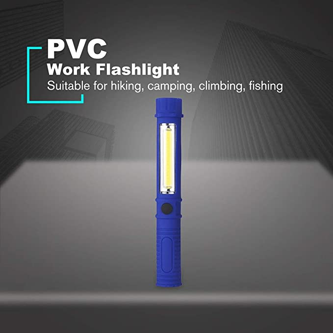 Color:Blue Handheld Multifunction Hand Torch COB LED Light Lamp Work Flashlight with Magnet for Home Emergency Repairing