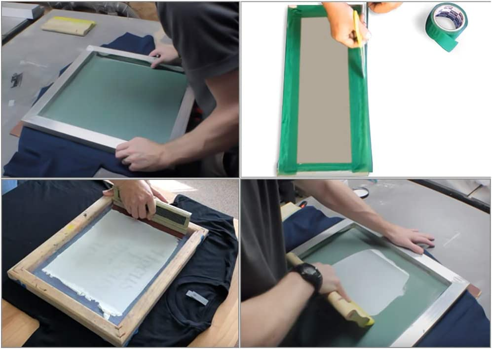 Goaup Silk Screen Printing Enthusiast Kit Include Screen Printing Frame with 110 White Mesh Screen Printing Kit Transparency Film Tape Screen Printing Squeegees