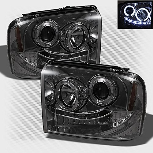 Xtune Smoked 2005-2007 F250 F350 F450 Super Duty Halo LED Projector Headlights Head Lights Pair Left+Right 2006