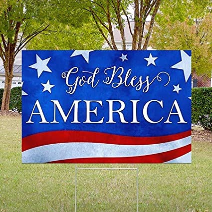 18x12 CGSignLab 2536606/_5ydsh2/_18x12/_None Inner CircleGod Bless America Double-Sided Weather-Resistant Yard Sign