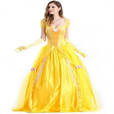 Adult Disney Princess Belle Inspired By Beauty And The Beast Dress Costume Cosplay Halloween Party