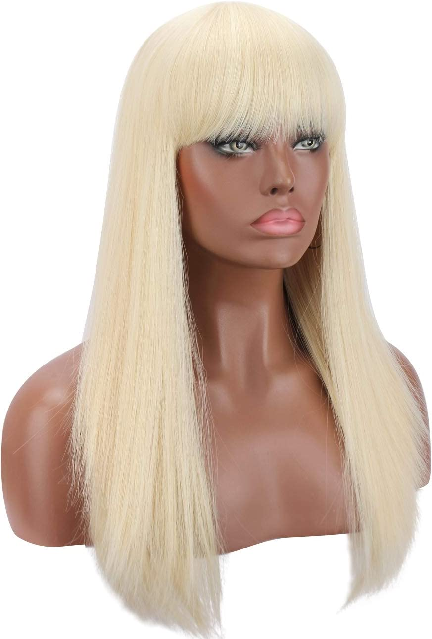 Kalyss Silky Platinum Blonde Synthetic Wig Natural Looking Long Straight Heat Resistant Hair Wig With Hair Bangs For Women Amazon Co Uk Beauty