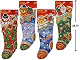 4 LARGE CHRISTMAS Glitter Window Snowman & Teddy Bear & Gift & Santa Stocking Clings Bundle Visible from Both Sides Reusable Great Value