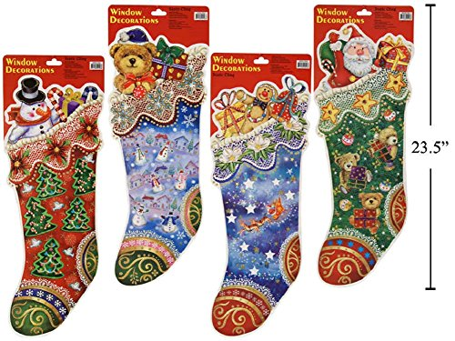 4 LARGE CHRISTMAS Glitter Window Snowman & Teddy Bear & Gift & Santa Stocking Clings Bundle Visible from Both Sides Reusable Great Value (Christmas Noel's 2017 Time Presents)
