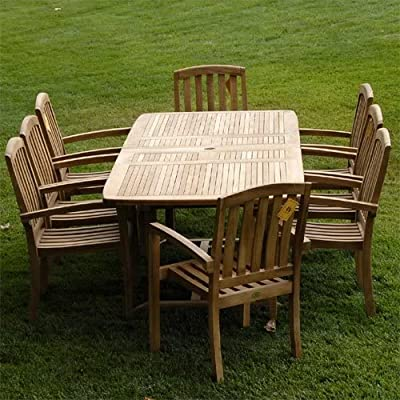 "Bayview Patio New 9Pc Grade-A Teak Outdoor Dining Set-83""X40"" Rectangle Double Extension Table & 8 Java Arm Chairs & Cushions - Extra Thick (1.5""table top, legs 2.5"") Rectangle Double extension table is (83X40X)inch (LXWXH) Table measures 58/71/83(L)X40(W)inches (NO/ONE/Two extensions). Stacking Chair is 25""X23""X38""(WXDXH) Chairs need assembly. Tenon&Mortise construction using Indonesian Grade-A Kiln Dried teak wood. FSC certified manufacturer - patio-furniture, dining-sets-patio-funiture, patio - 611%2BLWXTqjL. SS400  -"
