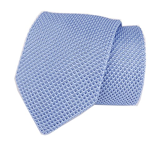 Mens Pure Light Blue Style Knit Neck Ties Woven Smart Wedding Soft For Groomsmen