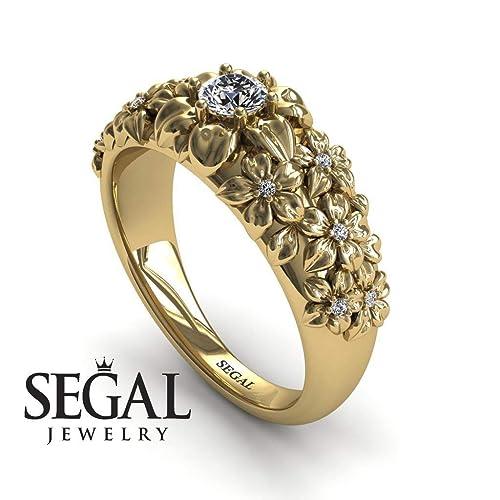 75115c8ec2c04 Amazon.com: Unique Engagement Ring Diamond ring 14K Yellow Gold ...