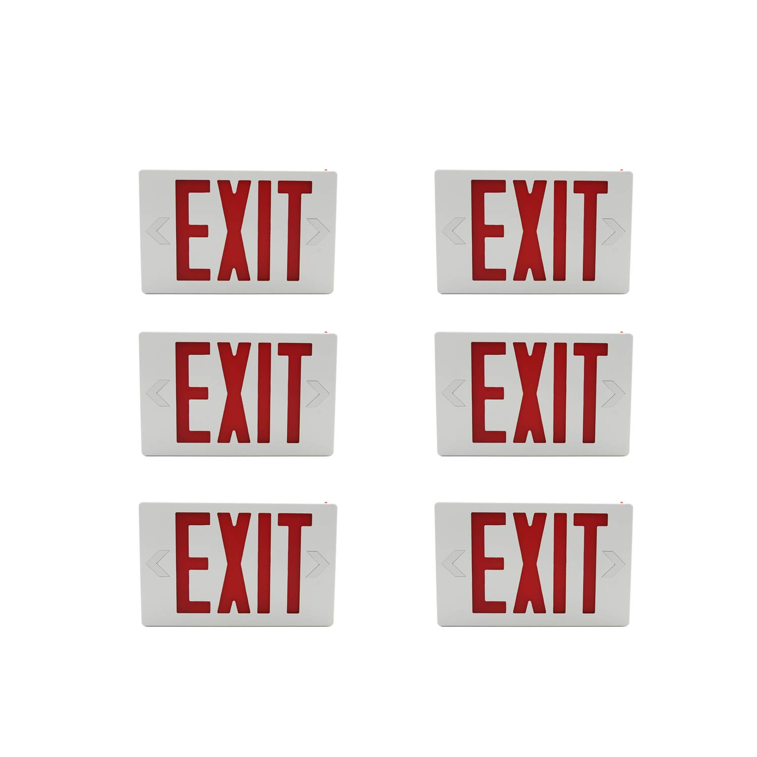 HYD-Parts 6 Sets of LED Exit Sign Emergency Light,UL Certified - Hardwired Red LED Exit Sign, Modern Design - Battery Backup - Emergency Fire Safety