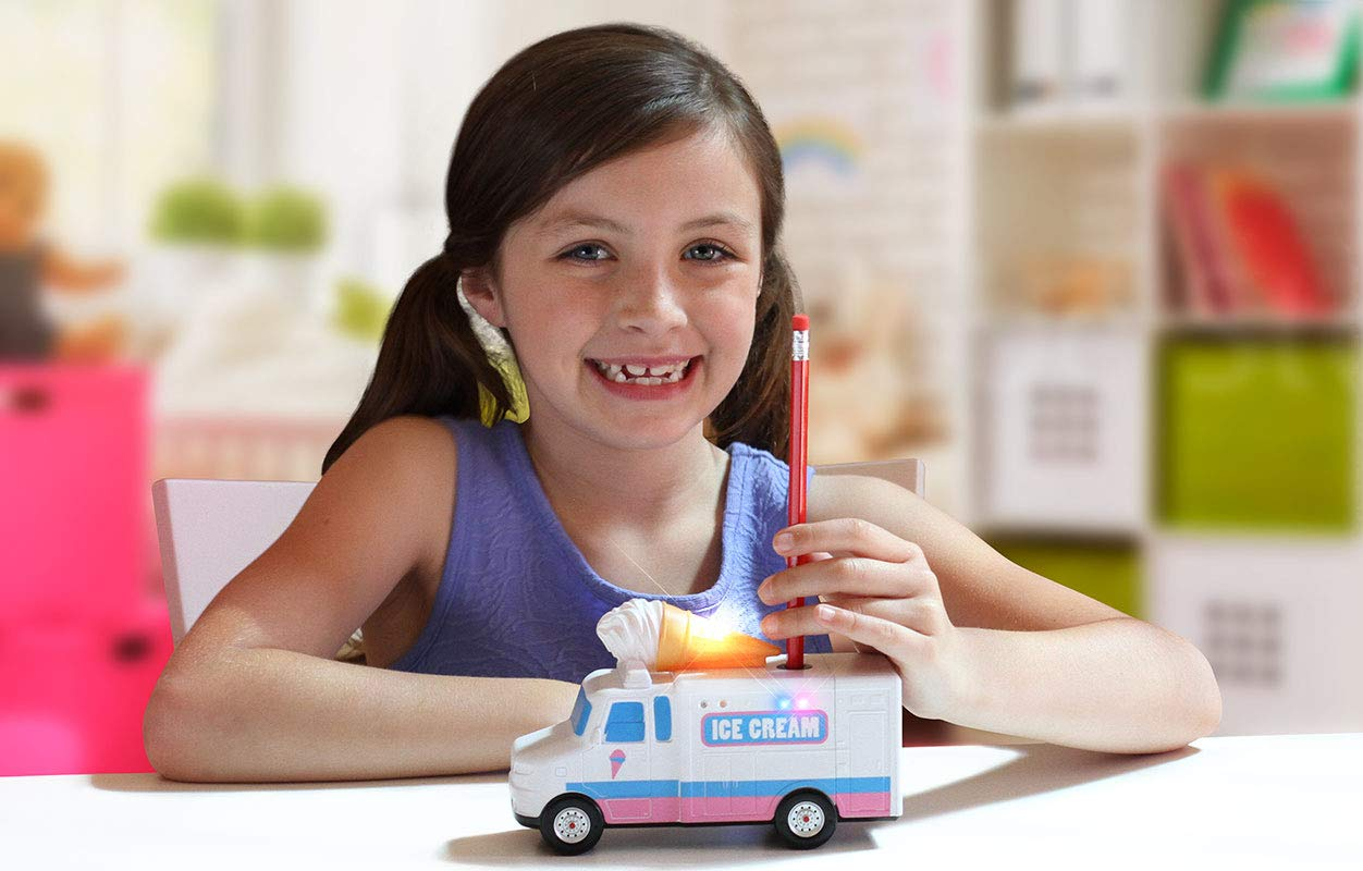 Amazeko Electric Pencil Sharpener with Ice Cream Lights & Music for Kids. Includes Carbon Steel, Electronic Sharpener, Batteries, Pencil. Perfect Gift for Easter, Graduation, and Birthdays by Amazeko (Image #2)