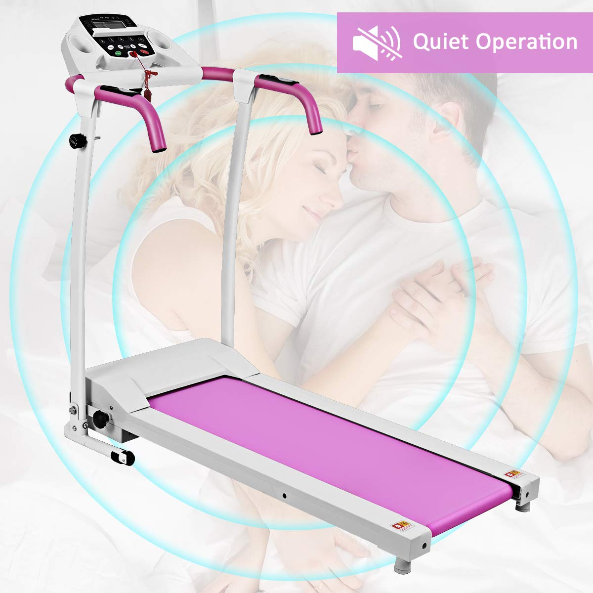 Goplus 800W Folding Treadmill Electric Motorized Power Fitness Running Machine with LED Display and Mobile Phone Holder Perfect for Home Use (Pink) by Goplus (Image #6)