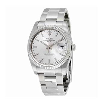 1e0df2fc2ce6 Image Unavailable. Image not available for. Color  Rolex Oyster Perpetual  Date 34 Silver Dial Stainless Steel Rolex Oyster Automatic Mens Watch  115234SSO