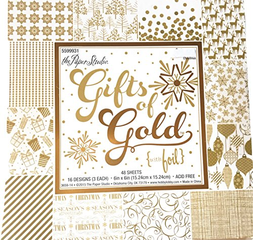Gifts of Gold 6x6 Scrapbooking Paper Pad 48 Sheets Christmas cards gift tags photo albums