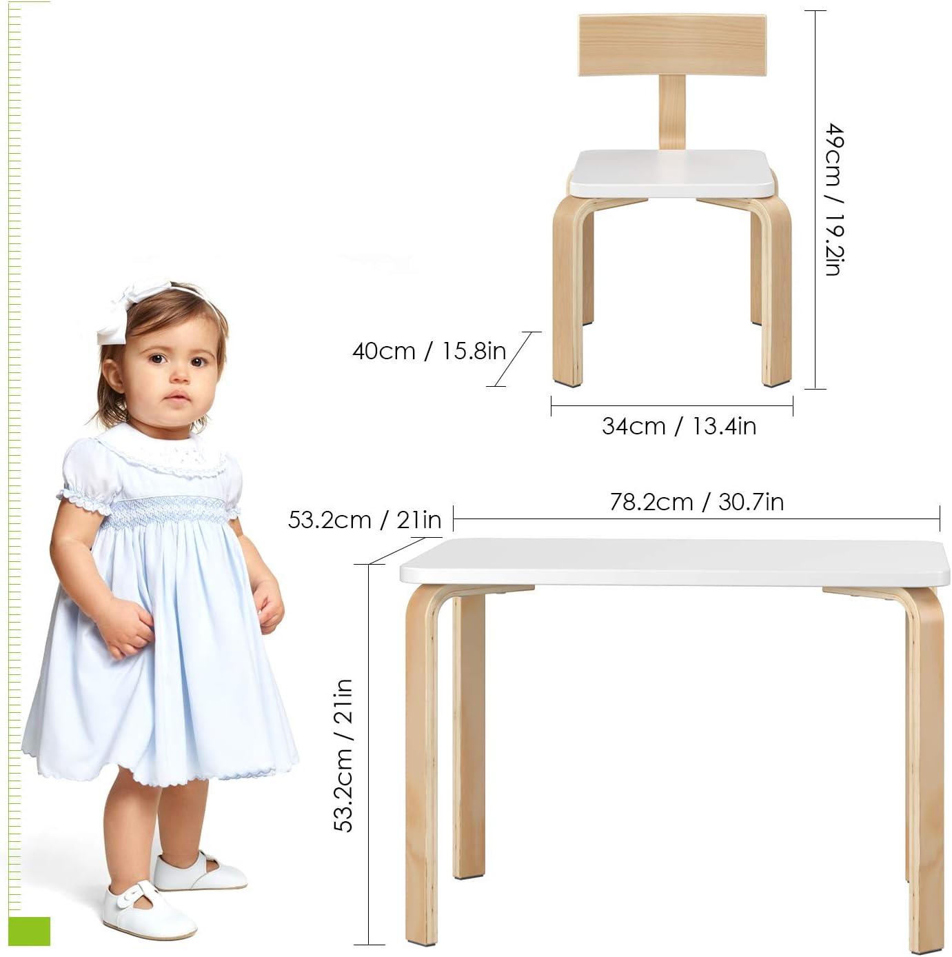 Bianco Homfa Tavolino Pittura Scrivania Per Bambini da Gioco con 2 Sedie in Legno 78.2x53.2x53.2cm