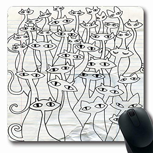 Ahawoso Mousepad Oblong 7.9x9.8 Inches Evil Orange Celebration Hand Drawing Doodle Cats Group Flat Bizarre Red Cool Design Office Computer Laptop Notebook Mouse Pad,Non-Slip Rubber