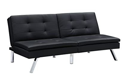 DHP Chelsea Convertible Splitback Futon Couch With, Multifunctional   Black