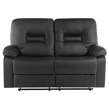 Cool Modern Faux Leather Recliner Sofa Manual Reclining Padded 2 Machost Co Dining Chair Design Ideas Machostcouk