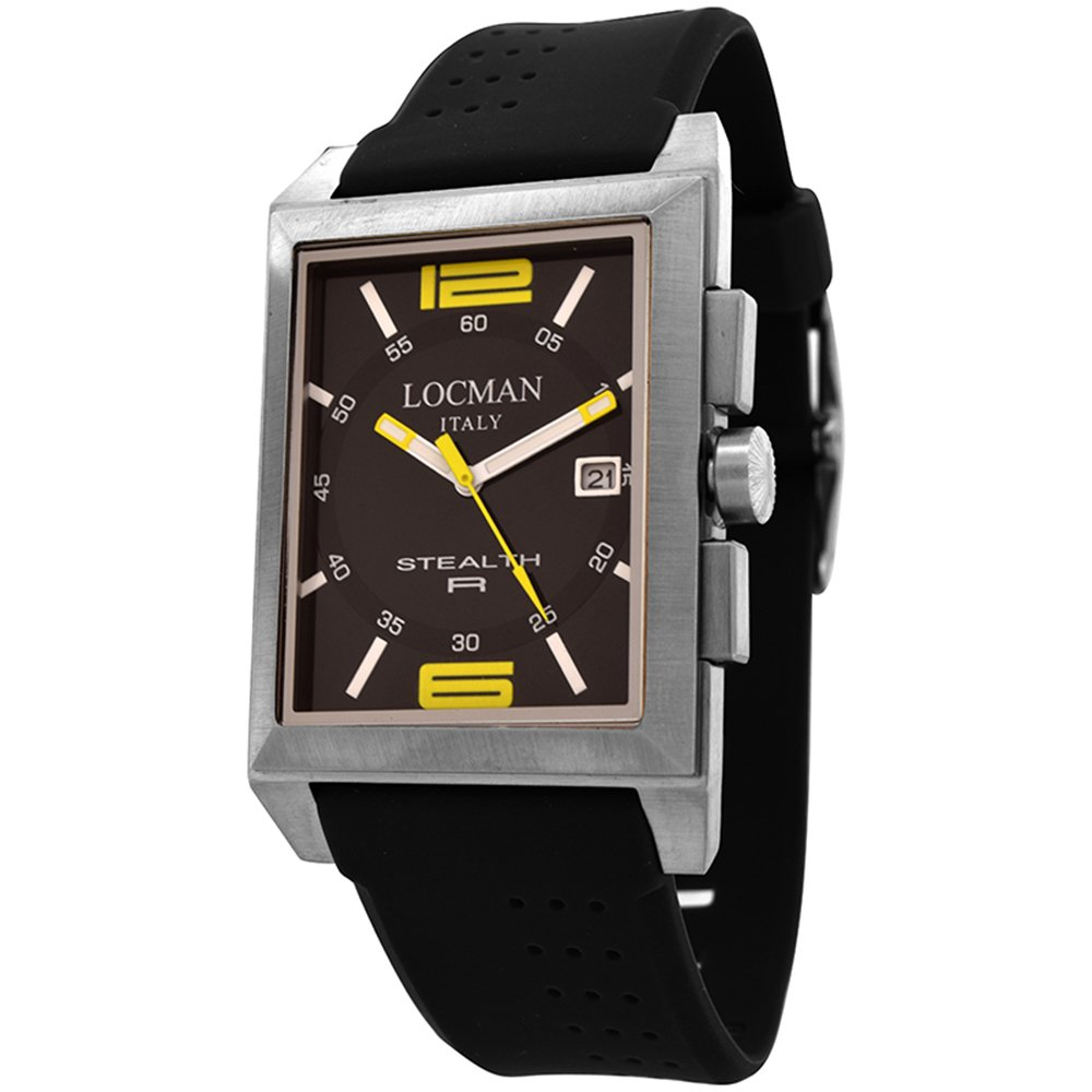 Amazon.com: Locman Stealth R Black Dial Black Rubber Mens Watch  LO-240BKYL1BK: Watches