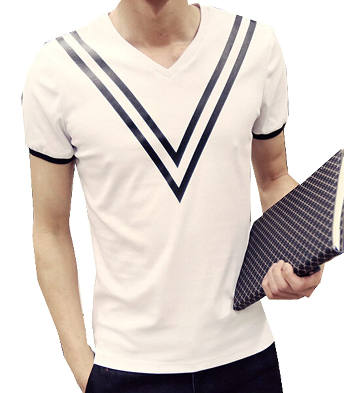 Vska Mens V Neck Casual Vogue Cotton Short Sleeve T Shirts