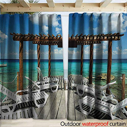 warmfamily Travel Indoor Outdoor Curtain Beach Sunbeds Ocean Sea Scenery with Wooden Seem Pier Image Print W108 x L108 Blue White and Pale Brown (Pier Lighted Right)