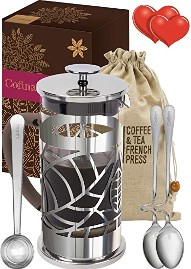 Cofina French Press Coffee Maker - 34 oz Large Stainless Steel Glass French Coffee Press Gift Bundle for moms