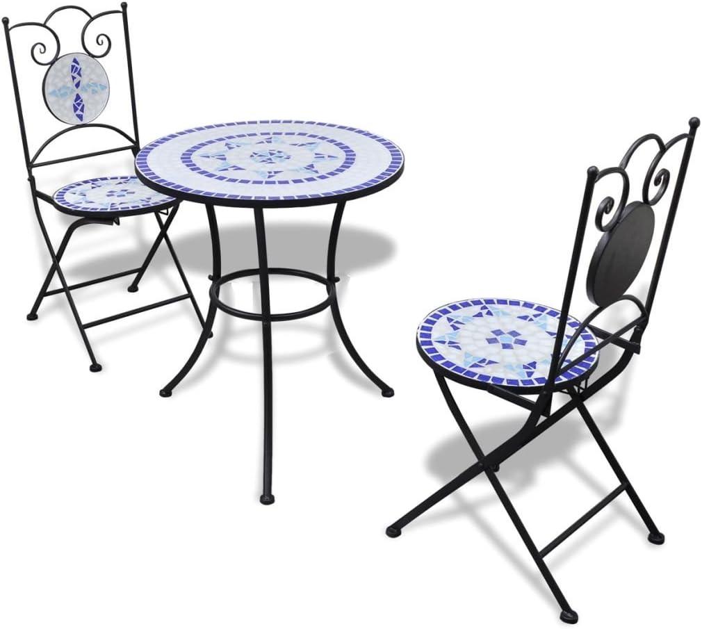 Tidyard Conjunto de Mesa y 2 Sillas de Jardín con Mosaico,Conjunto de Comedor de Jardín 3 Piezas para Jardín Terraza Patio,Marco de Hierro,Estilo Romántico,Azul y Blanco