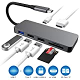 USB C Hub, Type C Hub with 7 in 1 Multi-port HDMI 4K Adapter, with 3 USB Ports SD/TF Card Reader, Power Delivery Port for New MacBook/MacBook Pro 2016/2017,HP Spectre X360/Dell XPS,Samsung Galaxy S8 and more (Grey)