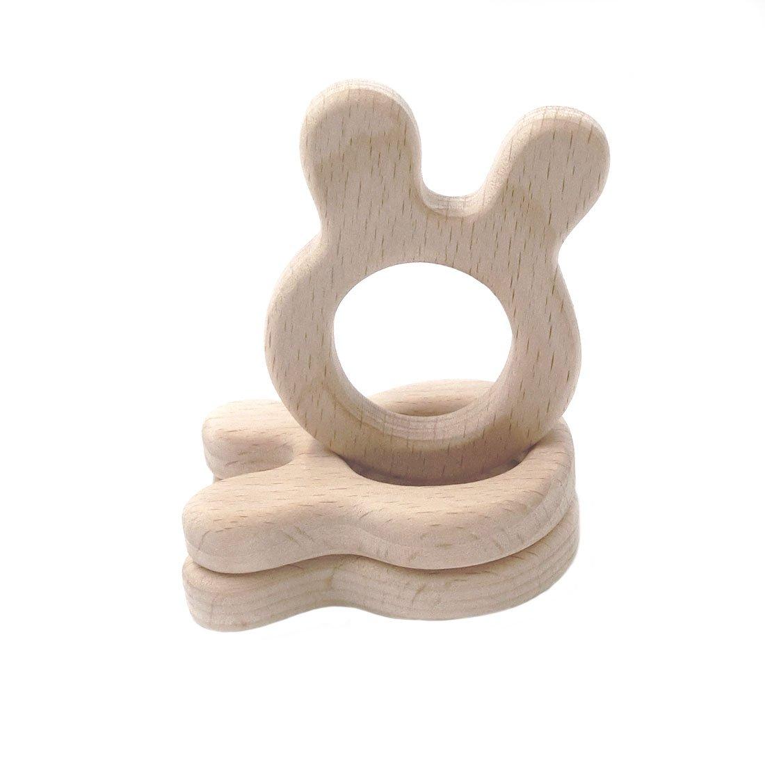 Coskiss 10pcs Bois Baby Teether Lapin Waldorf Toy Bague de dentition Jouet Personnel Grav/é Ecologique Ecologique Jouet Naturel 10pcs