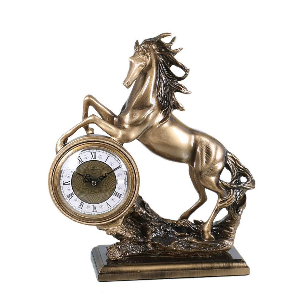 机の時計家族の時計樹脂と置時計のミュート、装飾的なリビングルームの寝室の研究室の棚のクロックリビングルームの寝室のオフィスに適して B07TD848JB