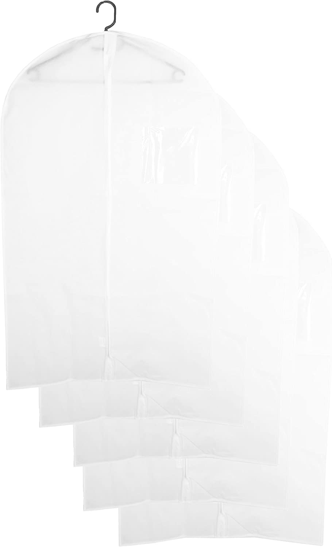 ZOLLNER24 5 fundas para la ropa para armario, 60x100 cm, con cremallera, blancas