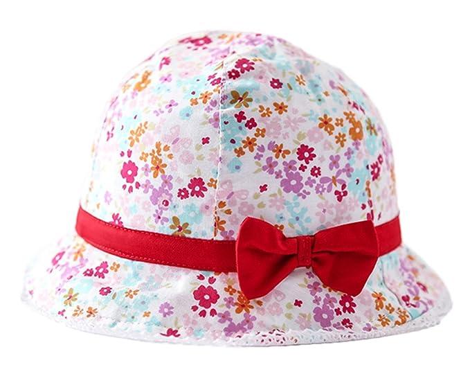 852ba41b7b34 Bigood Chapeau Bébé Fille Coton Bonnet de Soleil Plage Voyage Fleur Nœud  Papillon Eté Tour de