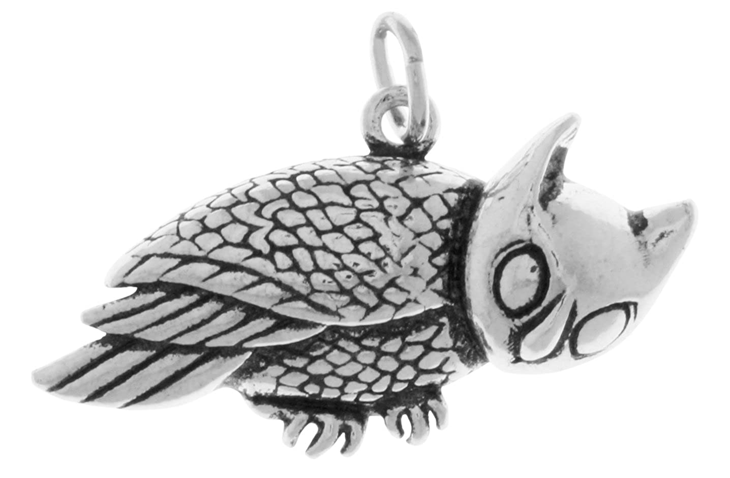 Jewelry Trends Horned Barn Owl Sterling Silver Bird Pendant
