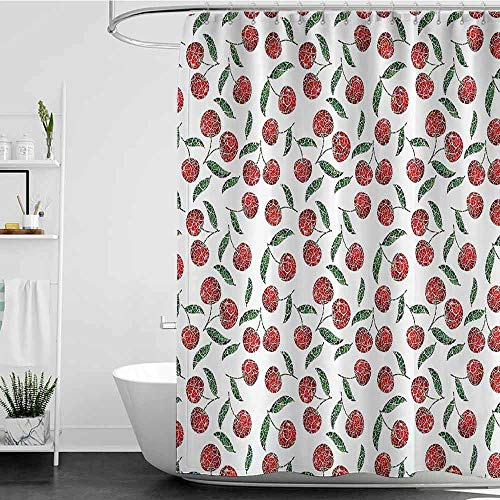 Shower Curtains for Bathroom Blue Garden Decor,Grunge Mosaic Style Cherries Seasonal Ripe Sweet Fruits Fresh Orchard Harvest,Red Green W36 x L72,Shower Curtain for Women