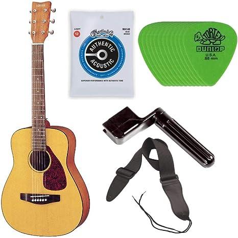 Yamaha JR1 Guitarra acústica con cuerdas de acero de tamaño 3/4 cadete, pack que incluye estuche, correa, cuerdas, bobinadora y púas: Amazon.es: Instrumentos musicales