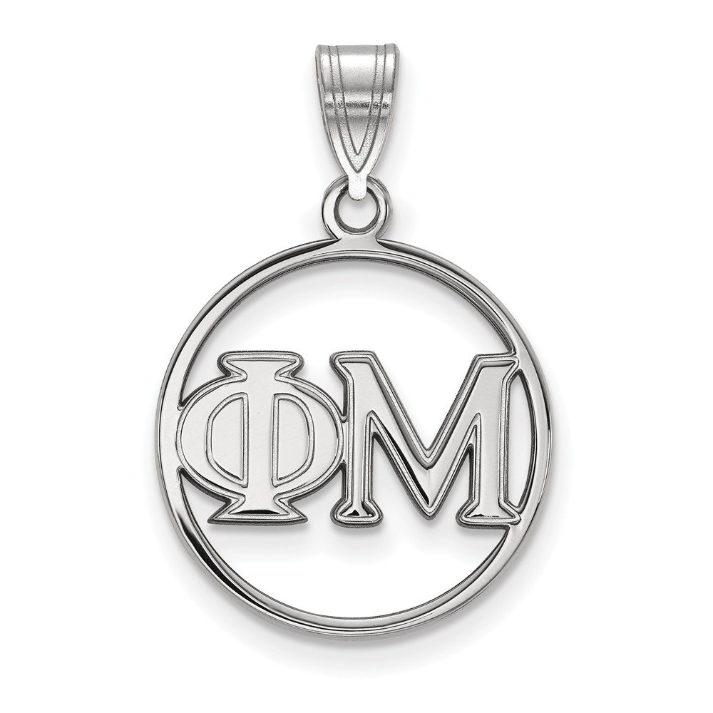 Jewel Tie 925 Sterling Silver Phi Mu Small Circle Pendant 18mm x 27mm